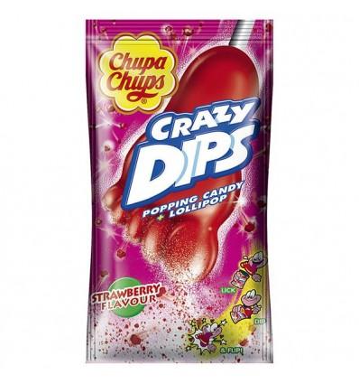 Chupa Chups Crazy Dips Jordbær slikkepinde 24 stk